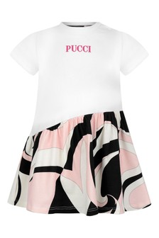 Baby Girls White & Pink Cotton Dress