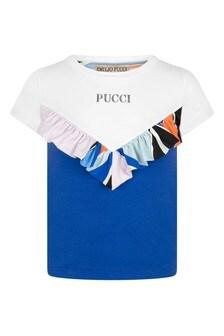 Girls White & Blue Cotton T-Shirt