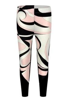Girls Black & Pink Cotton Leggings