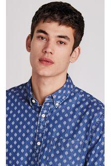 Indigo Regular Fit Printed Short Sleeve Shirt