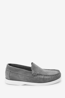 Grey Leather Penny Loafers