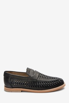 Black Leather Woven Loafers
