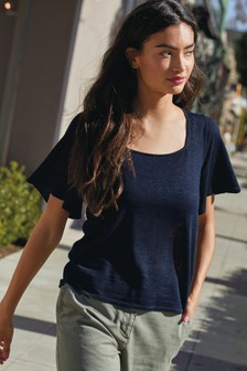 Navy Square Neck T-Shirt