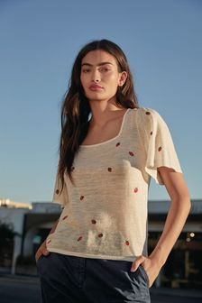 White Embroidered Square Neck T-Shirt