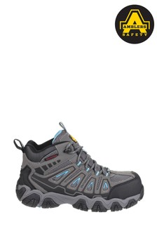 Ambers Safety Grey Waterproof Non-Metal Ladies Safety Hiker Boots
