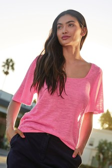 Pink Square Neck T-Shirt