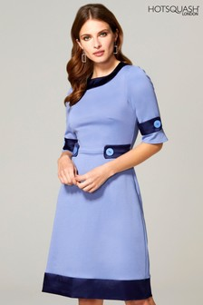 HotSquash Blue 60s Dress With Contrast Hem