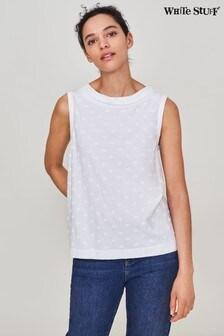 White Stuff White Embroidered Petal Tank Vest