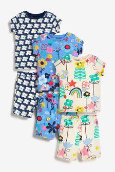 Bright Blue/Pink 3 Pack Floral Short Pyjamas (9mths-8yrs)