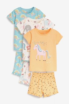 Orange/Ecru/Blue 3 Pack Unicorn/Rainbow Cotton Slub Short Pyjamas (9mths-8yrs)