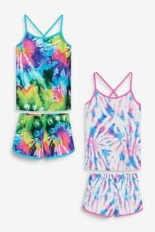 Multicolour Printed Tie Dye 2 Pack Cami Top Short Pyjamas (3-16yrs)