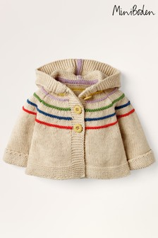 Boden Ivory Hooded Knitted Jacket