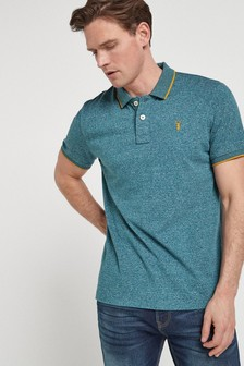 Blue Marl Soft Touch Tipped Regular Fit Polo Shirt