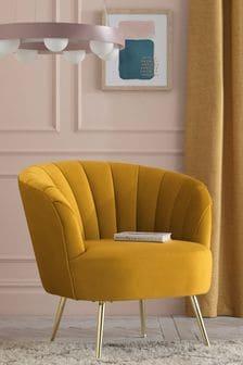 Opulent Velvet Ochre Stella Accent Chair With Gold Finish Legs