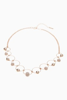 Rose Gold Tone Pavé Circles Short Necklace