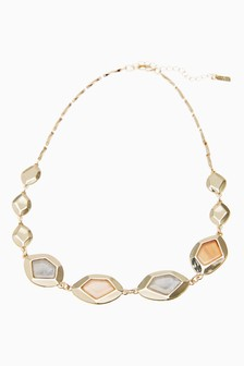 Gold Tone Facet Inlay Collar Necklace