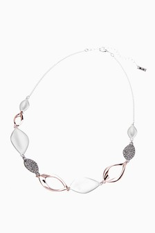 Silver Tone/Rose Gold Tone Pavé Petal Collar Necklace