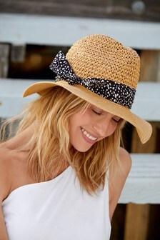 Natural Weave Scarf Detail Panama Hat