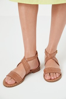 Tan Regular/Wide Fit Signature Comfort Studded Sandals
