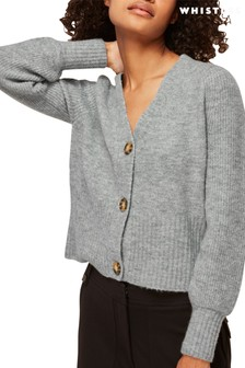Whistles Grey Puff Sleeve Cardigan