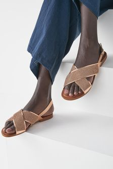 Rose Gold Two Band Bling Sandals