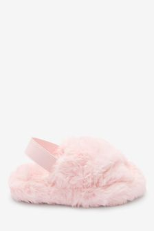 Pink Slider Slippers With Recycled Faux Fur (Younger)