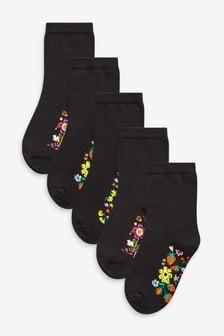 Black Floral 5 Pack Footbed Ankle Socks