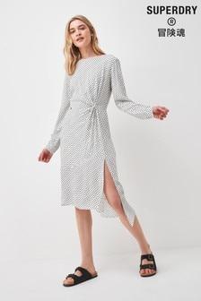 Superdry Long Sleeve Ecovero Twist Dress