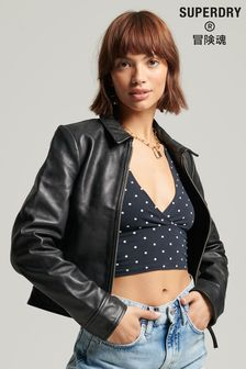 Superdry Black Down Town Leather Jacket