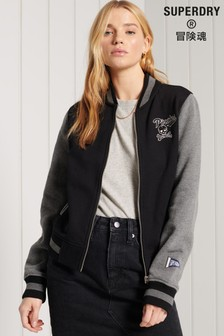 Superdry Black Collegiate Scripted Baseball Bomber Jacket
