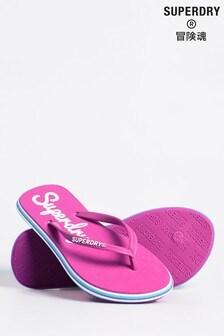 Superdry Pink Neon Rainbow Sleek Flip Flops