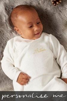 White Personalised White Name Sleepsuit