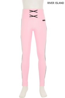 River Island Pink Light Mesh Layered Leggings