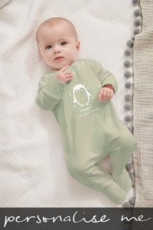Personalised Penguin Christmas Sleepsuit