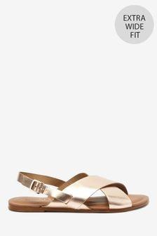 Rose Gold Extra Wide Fit Forever Comfort® Cross Front Slingback Sandals
