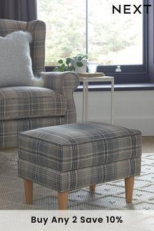 Versatile Check Nevis Grey Sherlock II Storage Footstool With Light Legs