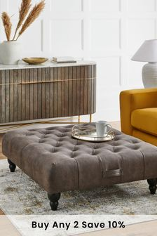 Monza Faux Leather Charcoal Gosford Ottoman To Chair