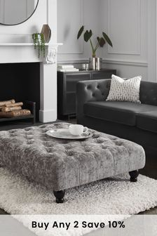 Distressed Velour French Grey Gosford Ottoman To Chair