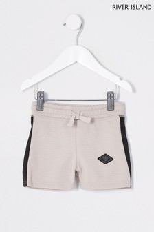 River Island Stone Light Pique Maison Tab Shorts