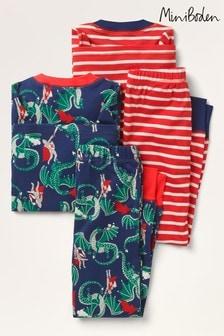 Boden Navy Cosy Twin Pack Long Pyjamas