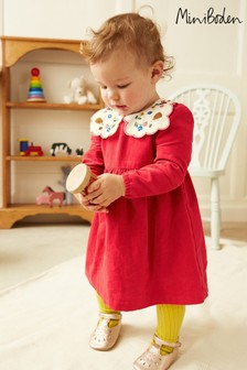 Boden Red Embroidered Collar Cord Dress