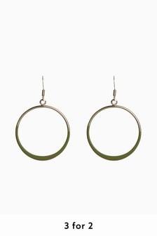 Gold Tone/Khaki Matte Coated Drop Earrings
