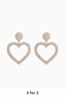 Gold Tone Statement Pavé Heart Earrings