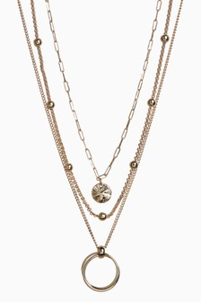 Gold Tone Three Layer Necklace