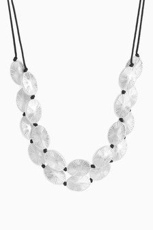 Silver Tone Two Row Beaded Short Necklace
