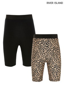 River Island Beige Animal Cycle Shorts Two Pack