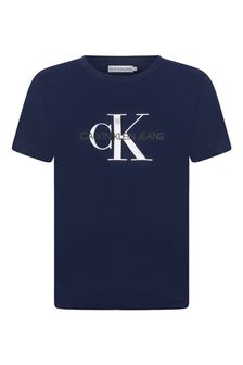 Boys Navy Monogram Logo Sweater