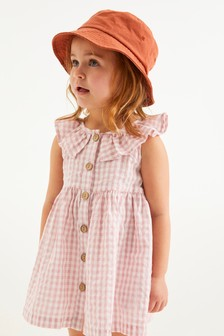 Pink Gingham Sleeveless Frill Dress (3mths-7yrs)