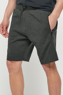 Charcoal Jersey Shorts With Zip Pockets