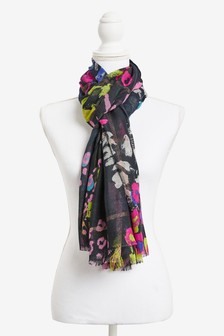 Bright Floral Sparkle Check Scarf
